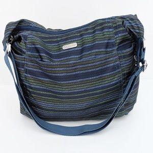Baggallini blue green stripe nylon carry-on bag
